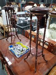 Sale 8826 - Lot 1018 - Pair of Mahogany Plant Stands