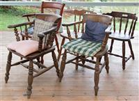 Sale 8934H - Lot 8 - A group of four nicely weathered Windsor chairs together with a similar more modern example.