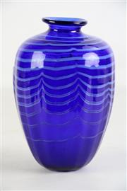 Sale 8931 - Lot 80 - Helmut Hiebl blue art glass vase (H18cm)
