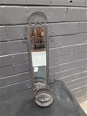 Sale 9051 - Lot 1011 - Wrought Iron Candle Holder With Mirror Insert (H: 57cm)