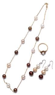 Sale 9083 - Lot 333 - FOUR ITEMS OF CULTURED PEARL JEWELLERY; a 5.3mm round Akoya pearl and garnet cluster ring, size P, wt. 2.12g, a 14ct gold twisted ro...