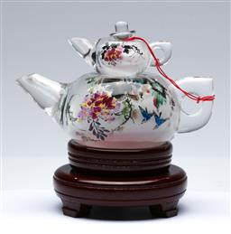 Sale 9098 - Lot 294 - Inside painted Chinese glass teapot decorated with birds and flowers, on timber rotating stand (H17cm)
