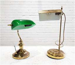 Sale 9121 - Lot 1070 - Brass bankers lamp together with another brass lamp