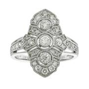 Sale 8221A - Lot 73 - 18ct White Gold Deco Style Diamond Ring; grain set with three round brilliant diamonds, to surround and shoulders set with round bri...