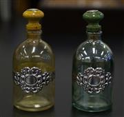 Sale 8310A - Lot 160 - Two coloured glass scent bottles with applied silver decorations