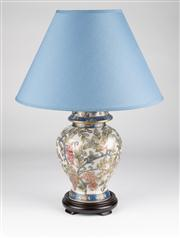 Sale 8350L - Lot 42 - A pair of Satsuma style hand painted polychrome lamps with blue shades on timber base, total H 45cm, RRP $ 480