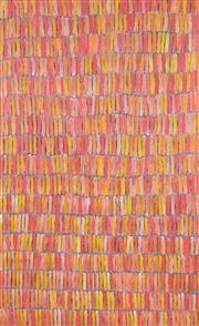 Sale 8380A - Lot 5 - Jeannie Mills Pwerle (1965 - ) - Bush Yam Dreaming 156 x 96cm (framed & ready to hang)