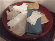Sale 8800 - Lot 226 - A collection of vintage and contemporary ladies accessories mainly silk and leather gloves, including timber and woven platters