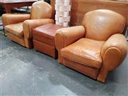 Sale 8724 - Lot 1007 - Pair of Tan Leather Art Deco Club Chairs & Lift Top Ottoman