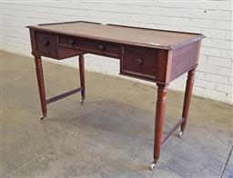 Sale 9142 - Lot 1029 - Victorian Mahogany Small Desk, with small gallery rail (losses), three drawers forming a knee-hole, raised on turned legs with stret...