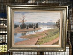 Sale 9147 - Lot 2083 - Louis Pocza The Nepean at Penrith oil on board, 70 x 90cm signed