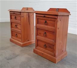 Sale 9183 - Lot 1015 - Pair of timber 3 drawer bedsides (h81 x w45 x d40cm)