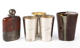 Sale 9195H - Lot 75 - A James Dixon and sons silver hallmarked leather clad hip flask. internal glass broken, together with a set of four graduated tumble...
