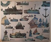Sale 7984 - Lot 11 - David Bromley (1960 -) - Maritime Theme, oil on canvas, 148 x 179.5cm, signed