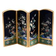 Sale 8000 - Lot 168 - A Japanese cloisonné four panel miniature screen of birds amongst foliage, the back with an engraved scene of Mt. Fuji, Inata mark.