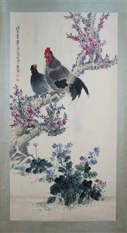 Sale 8221 - Lot 89 - Jiang Handing Signed Chicken & Flowers Hand Painted Watercolour Scroll
