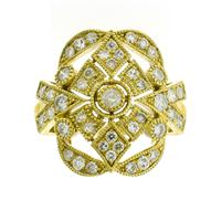 Sale 8221A - Lot 65 - 18ct Gold Deco Style Ring; with round brilliant cut diamonds totalling an estimated 0.94ct, Size M