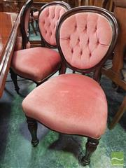 Sale 8460 - Lot 1085 - Set of Six Victorian Mahogany Balloon Back Dining Chairs, with buttoned pink velvet backs & seats, on turned reeded legs