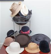 Sale 8800 - Lot 227 - A collection of ladies vintage and contemporary hats, various styles including metal stand
