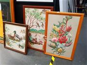 Sale 8671 - Lot 2050 - Set of Three Elevated Framed Tapestries