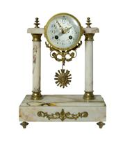 Sale 8828A - Lot 77 - Antique French bronze and marble column mantle clock with key and pendulum. 33 x 24 x 12