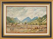 Sale 8973 - Lot 2023A - Les Graham (1942 - ) - Grazing Sheep, Macleay Valley 41 x 63 cm (frame: 62 x 84 x 5 cm)