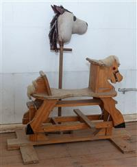 Sale 8934H - Lot 10 - A wooden rocking horse together with a Hobby horse.