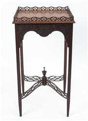 Sale 9044J - Lot 27 - A George III mahogany fret carved gallery lamp table C: 1780. The extremely fine pierce carved gallery above the stepped edge top on...