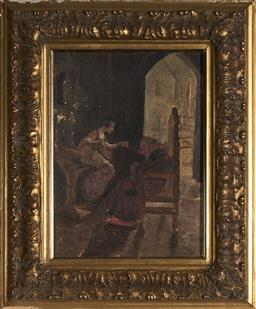 Sale 9116 - Lot 591 - Ruby Winckler (1886 - 1974) The Abbott Smells the Rose, 1908 oil on canvas on board 37.5 x 27.5 cm (frame: 58 x 48 x 4 cm) signed an...
