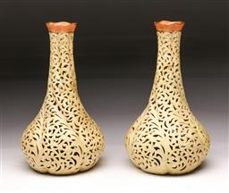 Sale 9098 - Lot 358 - Pair of Locke & Co. Worcester Reticulated Vases, restored (h:22cm)