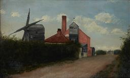 Sale 9109A - Lot 5045 - Artist Unknown Old Huxley Windmill oil on canvas 20.5 x 34 cm (frame: 29 x 42 x 3 cm) initialled J.A.G lower left, titled with ded...