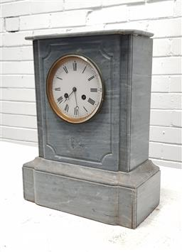 Sale 9126 - Lot 1049A - Late 19th Century French Grey Marble Mantle Clock, with white enamel dial with Roman numerals, having two train movement - chip to c...