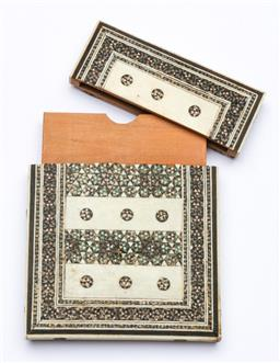 Sale 9164 - Lot 346 - An Indian Ivory panel card case with mother of pearl and green-stone inlay, some loses W8cm H10cm