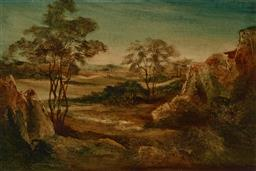 Sale 9256A - Lot 5136 - NORMAN ROBINS (1914-1988) - In the Glade oil on board 29 x 44 cm (frame: 39 x 54 x 3 cm)