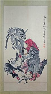 Sale 8221 - Lot 46 - Huang Zhou Signed Lady with Donkey & Chickens Hand Painted Watercolour Scroll