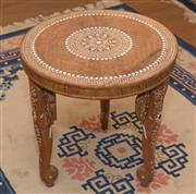 Sale 8368A - Lot 2 - An Indian inlaid hardwood round occasional table with elephant supports, Diameter 39cm