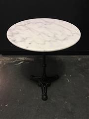 Sale 8402B - Lot 34 - French Style Cafe Table with White Marble Top on Cast Iron Base, 60cm diameter