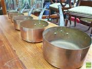 Sale 8428 - Lot 1050 - Set of Five Graduating Copper Saucepans (Biggest Pot = H 10.5 x D 20cm - Smallest = H 6 x D 12cm)