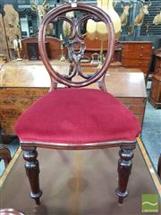 Sale 8444 - Lot 1082 - Victorian Mahogany Balloon Back Chair, with pierced carved splat & red velvet seat