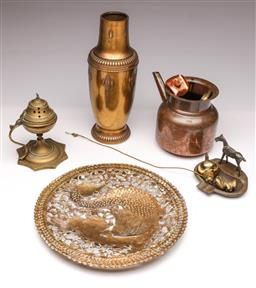 Sale 9104 - Lot 38 - A collection of brass and copper wares including incense burner