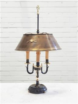 Sale 9126 - Lot 1044 - Partly Patinated Brass Bouillotte Lamp, with stepped base & three branches, the adjustable metal shade with appliques (h:73cm)