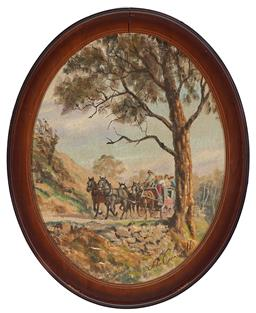 Sale 9147 - Lot 2090A - JOHN CORNWELL (1930 - ) Coming Home on the Coach oil on hessian (damage to frame) 34 x 26.5 cm (frame: 41 x 33 x 2 cm) signed lower ...