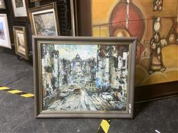 Sale 9123 - Lot 2096 - Sidney Waite Swanston Street, Melbourne, oil on canvas board, frame: 48 x 58 cm, signed lower right,