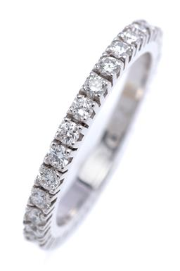 Sale 9191H - Lot 78 - AN 18CT WHITE GOLD FULL HOOP DIAMOND RING; set with 29 round brilliant cut diamonds totalling approx. 0.72ct, F-VS, size N, Wt. 3.3g.