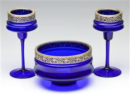 Sale 9190 - Lot 34 - A blue glass bowl and matching tealight holders (dia of bowl 19cm, H of tealights 23cm)