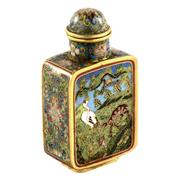 Sale 8000 - Lot 169 - A Chinese cloisonné snuff bottle with cranes, deer and lotus and engraved mark to base.