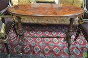 Sale 8282 - Lot 1060 - Victorian Burr Walnut & Inlaid Occasional Table, with oval top, turned & carved supports with stretcher (restored area to top)