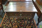 Sale 8335 - Lot 1047 - Antique French Oak Side Table, with frieze drawer & on cabriole legs (restorations)