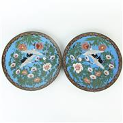 Sale 8399A - Lot 14 - Japanese Pair of Cloisonne Plates