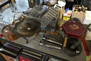 Sale 8563T - Lot 2337 - Collection of Kitchenwares incl. Copper Saucepan, Shell Specimen Vases, Mortar and Pestle etc.